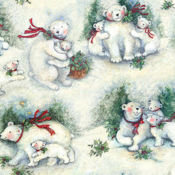 Susan Winget Polar Bear Love Quilt Fabric, Cotton Fabric by the Yard, F2036