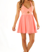 All Of Me Bow Dress: Coral/Ivory