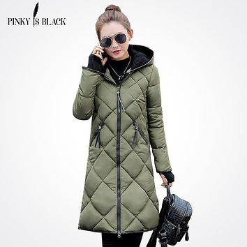 Pinky Is Black Winter Jacket Women Down Cotton Jacket Parkas Ladies Plus Size S-3XL PU Leather Splice Winter Women Coat Outwear