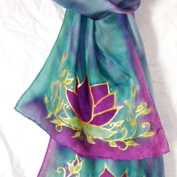 Lotus scarf, yoga scarf, yoga wear, meditation scarf, prayer scarf,lotus art, wearable art,goddess,