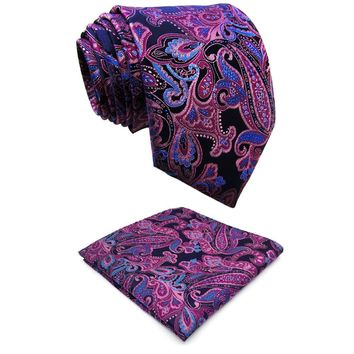 Q15 Extra long size Paisley Blue Pink Mens Necktie Ties 100% Silk Jacquard Woven Brand New Fashion