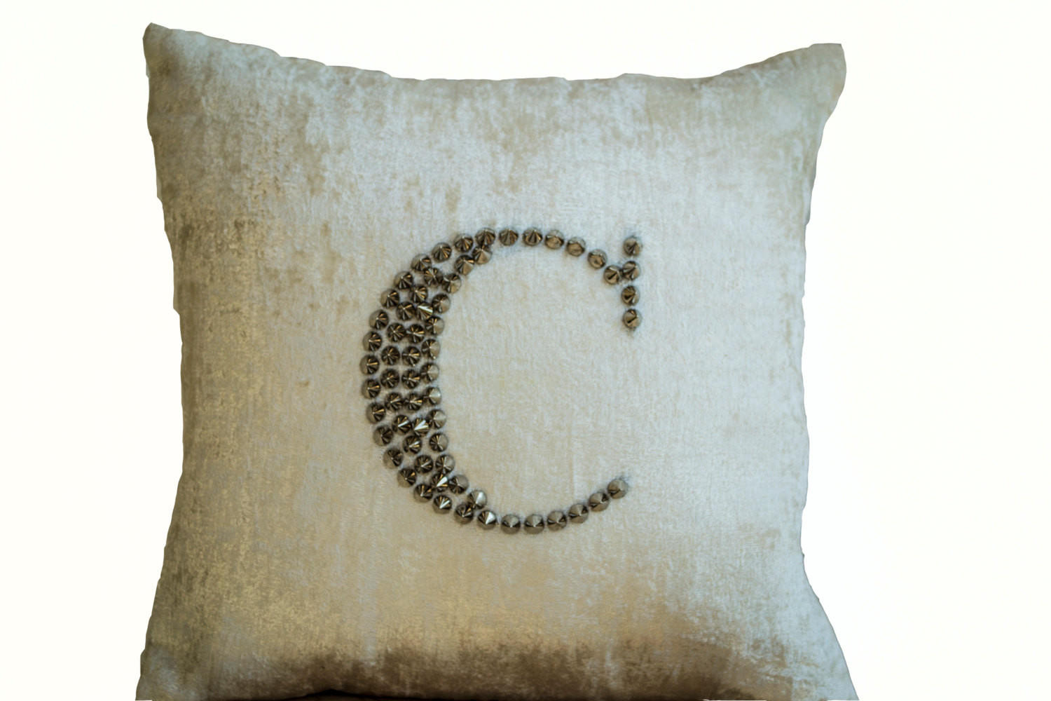Ivory White Velvet throw pillows studded from casaamore-internati