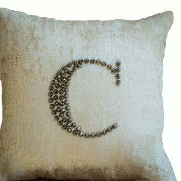 Ivory White Velvet throw pillows studded embroidery -Personalized sequin pillow case -cream velvet silver stud -monogram pillows-sofa pillow