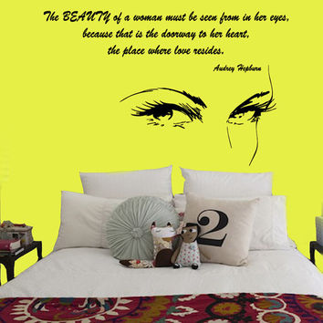 Wall Decals Vinyl Decal Audrey Hepburn Quote The Beauty Of A Woman ... Home Vinyl Decal Sticker Kids Nursery Baby Room Decor kk93
