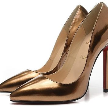 Christian Louboutin Bronze Patent Leather High Heels 100mm
