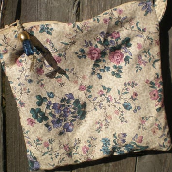 Floral messenger cross body hip bag of soft cotton, fully lined with beaded zipper and adjustable strap