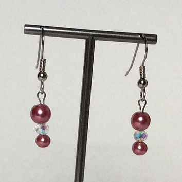 Medium Rose Glass Faux Pearl Dangle Earrings with Stainless Steel Ear Wires, Drop Earrings, Pretty, Dressy, Simple, Minimalist, Light Weight