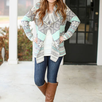 Snowflake Cardigan - Mint and Ivory