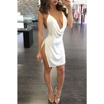 2018 summer solid color white wine red backless strap dress side open deep V-neck sexy dress temperament mini dress