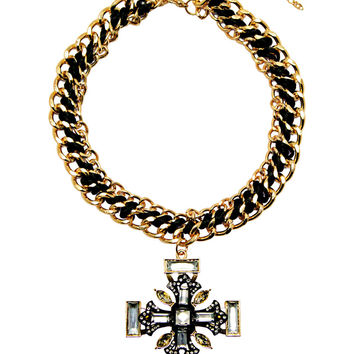 Artful Sophistication Cross Necklace in Gold – bandbcouture.com