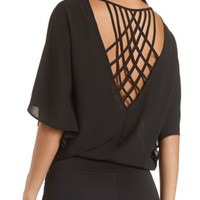 Bloused Cape Sleeve Top with Lattice by Charlotte Russe - Black