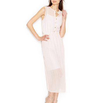 Maison Jules Sleeveless Crew-Neck Gingham Maxi Dress