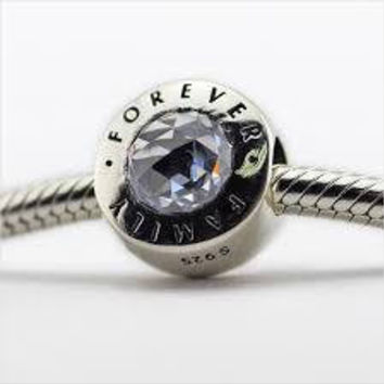 Pandora Family Forever, Clear CZ Charm Bead Authentic Pandora