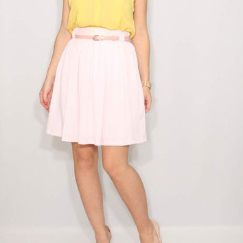 Pale pink skirt High waist skirt Short skirt with pockets