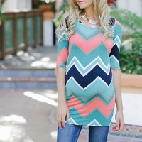 Aqua Multi-Colored Chevron Printed 3/4 Sleeve Maternity Top