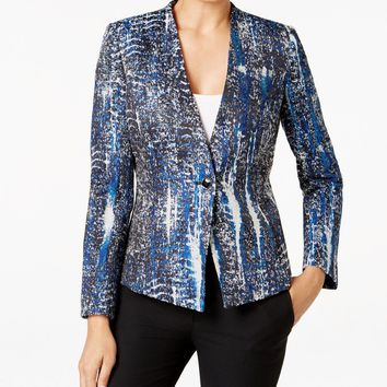 Tahari ASL One-Button Jacquard Printed Blazer
