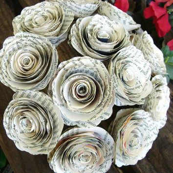 """one dozen 12 spiral book page roses 2"""" in diameter recycled rolled paper flowers for wedding bouquets"""