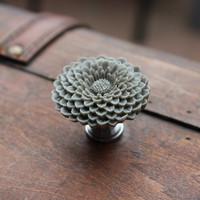 Flower Drawer knobs - Cabinet Knobs Mum in Dark Grey LARGE, more COLORS (RFK12)
