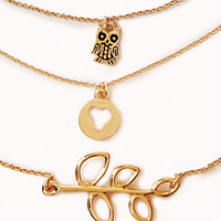 Owl Charm Necklace Set