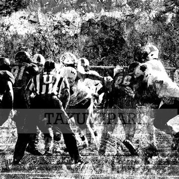Black And White College Football Wall Art Print, Sports Room Decor, Mancave Art, Gift For Football Player, Photo Print, Football Artwork