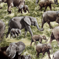 Elephants Elephant Fabric Animal Fabric African elephants  Quilting Fabric Jungle Fabric Safari Fabric Baby Elephants  Pillow Fabric