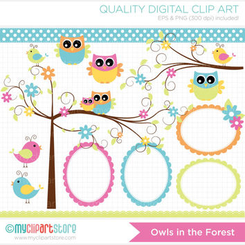 Owls in the Forest Clip Art / Digital Clipart - Instant Download