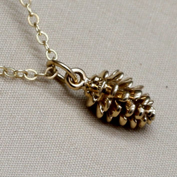 Gold Pinecone Necklace,Bronze Pinecone,Pine cone Necklace,14K Gold Filled Chain,Fall Jewely, Autumn Jewelry, Harvest,Fall Harvest,Holiday