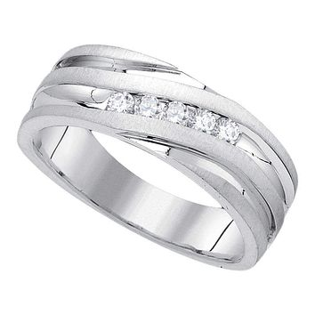 10kt White Gold Men's Round Diamond Wedding Band Ring 1/4 Cttw - FREE Shipping (US/CAN)