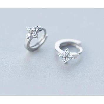 SHINNY Real. 925 Sterling Silver crystals CZ Flower Hoop Huggie Earrings TINNY/SMALL child girl's jewelry GTLE940