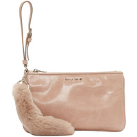 Pink Leather & Fur Pouch