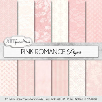 "Wedding digital paper ""PINK ROMANCE"" rustic, pink, ivory, grunge, lace, damask for photographers, boudoir, albums, scrapbooking and weddings"
