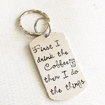 Coffee keychain - Hand stamped keychain - Coffee