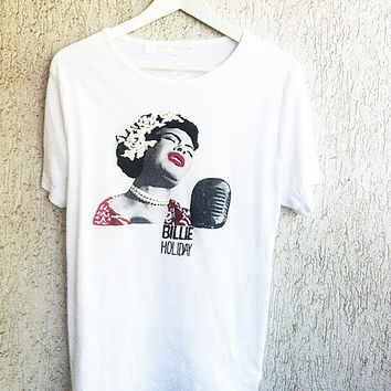 BILLIE HOLIDAY  Tshirt Lady Day Shirt Painting 3d  Tee  African American  T-shirt Painting T Shirt Jazz Voice Blues