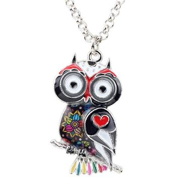 Statement Zinc Alloy Floral Owl Bird Choker Necklace Chain Pendant Fashion New Enamel Jewelry For Women Teens Girl