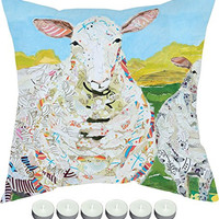 "Manual Woodworkers SLFSHP Farm Art Sheep Indoor Outdoor Pillow 18""x18"" with 6-Pack of Tea Candles"