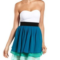 Tiered Chiffon Tube Dress: Charlotte Russe
