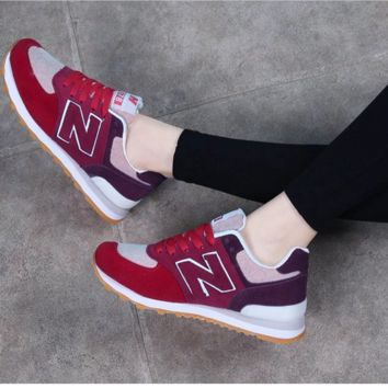 NEW BALANCE Women Men Casual Running Sport Shoes Sneakers N wine red