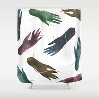 Hands and Strings Shower Curtain by Esthera Preda