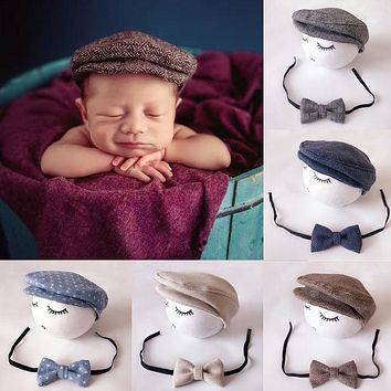 Baby Newborn Peaked Beanie Cap Hat Bow Tie Photo Photography Prop Infant Boy Caps