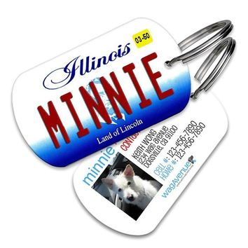 Illinois License Plate Pet Tag