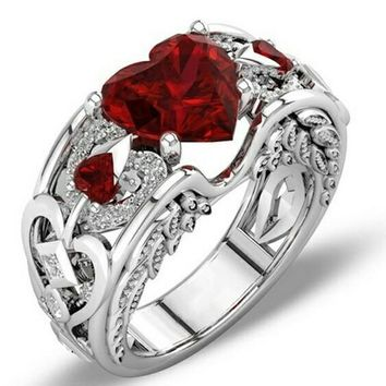 Princess Sterling Silver Natural Ruby Heart Gemstone Angel Wing Ring - 5 colors