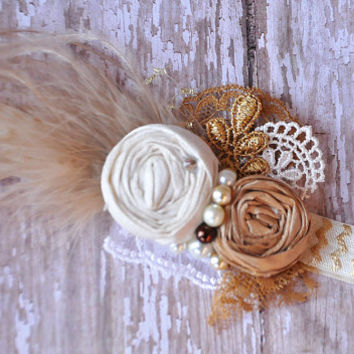 Athena boutique rosettes headband-Ivory and gold- photo prop-raw Dupioni silk- all ages available-wedding-garter-newborn-photo prop
