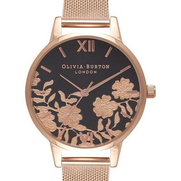 Olivia Burton Lace Detail Mesh Bracelet Watch, 30mm | Nordstrom