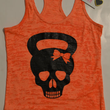 Kettlebell Skull with Bow Burnout Tank Top  Workout.  Mud Run.  Dirty