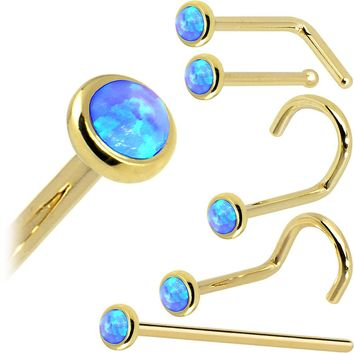 Solid 14KT Yellow Gold 2mm Blue Synthetic Opal Nose Ring