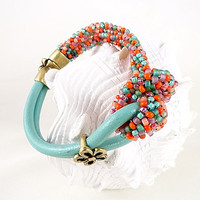 Turquoise Leather And Beaded Kumihimo Love Knot Bracelet, Orange, Turquoise, Brass Components, Magentic Clasp, Summer, Spring, OOAK