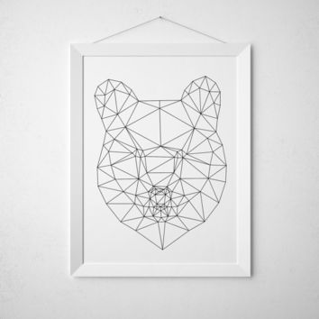 Geometric bear print Animal poster Triangle decor Line art TO315
