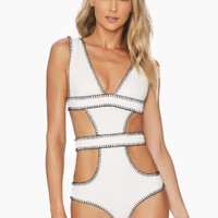 Amores Cut Out One Piece Swimsuit - Ivory Texture