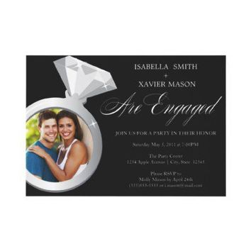 Diamond Ring Engagement Party Invite (Photo) from Zazzle.com