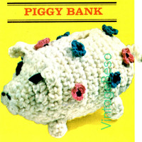 Piggy Bank 1960's Vintage CROCHET Pattern so cute so much fun to crochet any child would love saving money kids decor Instant Download Pdf